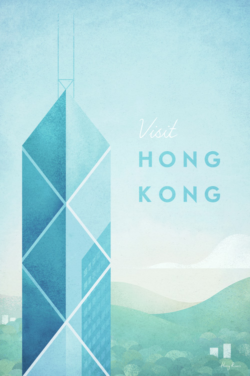 Hong Kong - Art Print by Henry Rivers / Travel Poster Co. - Geometric, vintage style travel poster of Hong Kong by Henry Rivers.