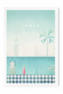 India Vintage Travel Poster Art by Henry Rivers