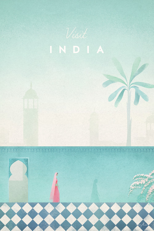 India Travel Poster - Minimalist Poster Art by artist Henry Rivers. - India botanical illustration with a walled garden in an India city.