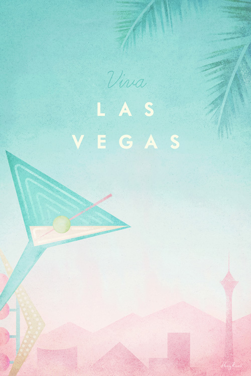 Las Vegas, Nevada Travel Poster - Minimalist Poster Art by artist Henry Rivers. - Old Vegas cocktail glass neon sign and the Vegas skyline.