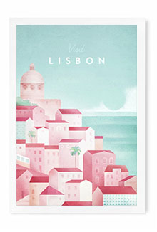 Lisbon Vintage Travel Poster Art by Henry Rivers