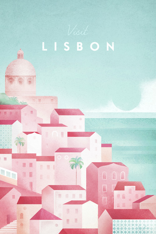 Lisbon, Portugal Travel Poster - Minimalist Poster Art by artist Henry Rivers. - Vintage style illustration of the rooftops of Lisbon with shades of terracotta, pink and orange.