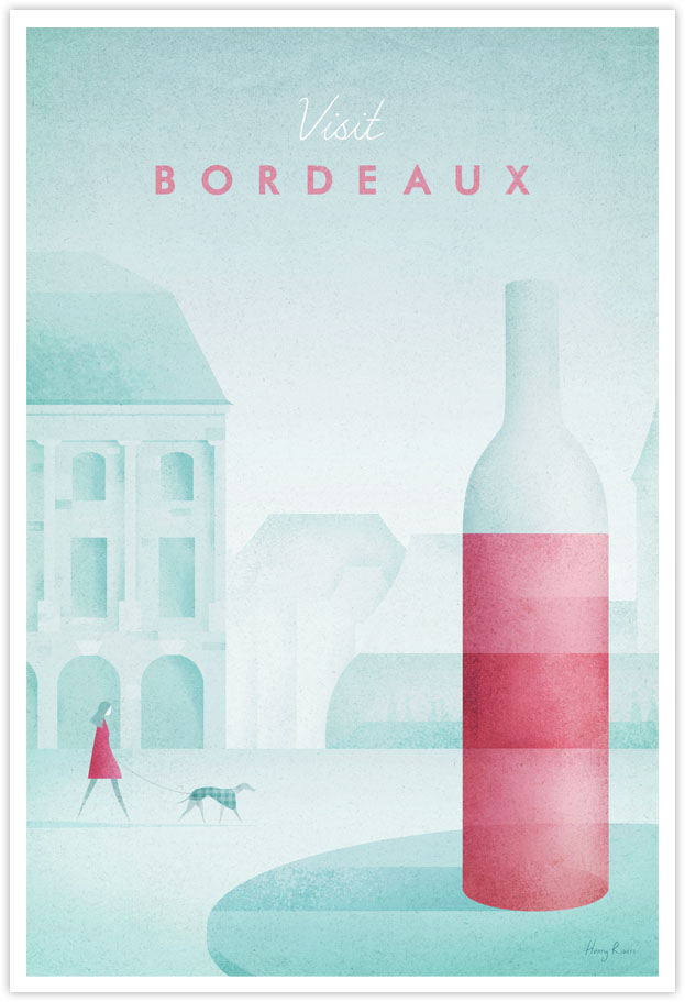 Bordeaux, France Travel Poster - Art Print by Henry Rivers / Travel Poster Co. - Bordeaux wine illustration. Vintage style poster of Bordeaux city with red wine in foreground.