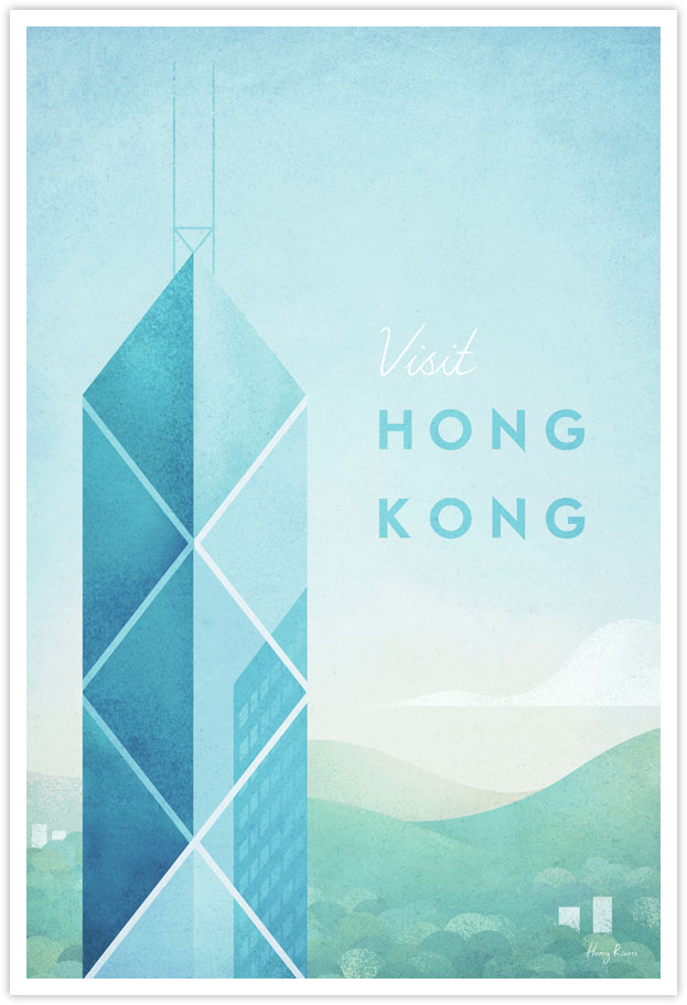 Hong Kong Travel Poster - Art Print by Henry Rivers / Travel Poster Co. - Illustration of Hong Kong, China. Travel artwork by Henry Rivers with the Bank of China Tower.