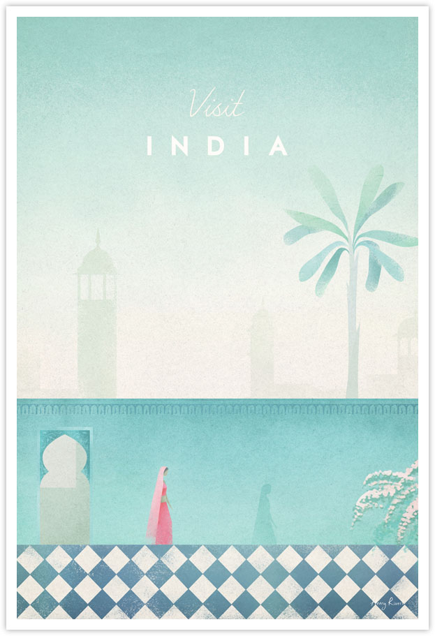 India Travel Poster - Art Print by Henry Rivers / Travel Poster Co. - India Travel poster by Henry Rivers with wall garden and woman in a sari.