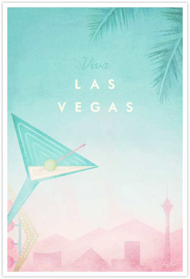Las Vegas Travel Poster - Art Print by Henry Rivers / Travel Poster Co. - Las Vegas, Nevada, United States illustration by Henry Rivers. Old Vegas cocktail glass neon sign, palm trees and the city's skyline.