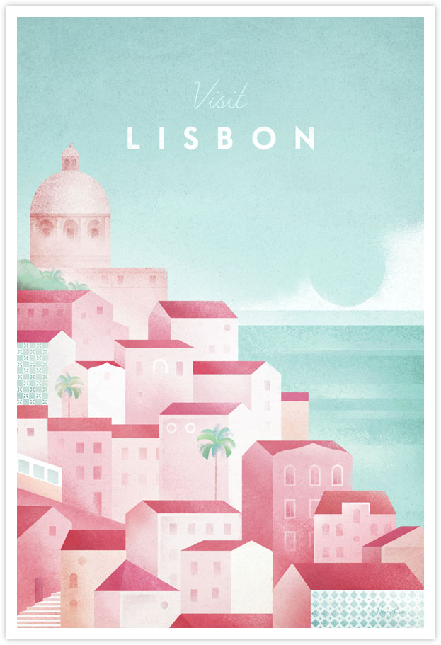 Lisbon, Portugal Travel Poster - Art Print by Henry Rivers / Travel Poster Co. - Vintage style illustration of a hill in Portugal. Rooftops, tiled facades, the sea in a geometric composition.