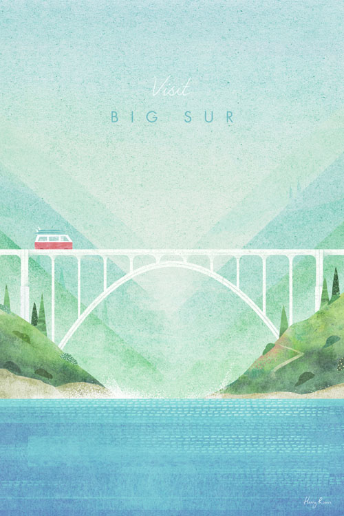Big Sur, California Travel Poster - Minimalist Poster Art by artist Henry Rivers. - Vintage style illustration of a camper van on Bixby Bridge, Route 1 with the ocean waves below.