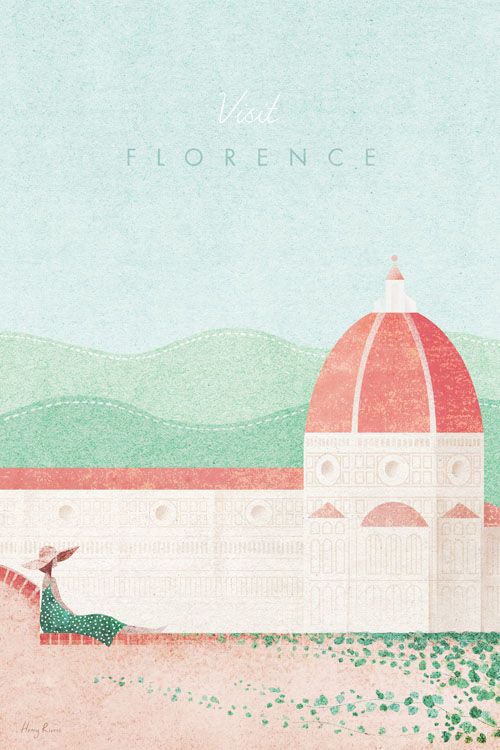 Florence, Italy Travel Poster - Minimalist Vintage Travel Poster Art by artist Henry Rivers. - Vintage style illustration of The Duomo cathedral in Florence, Tuscany, Italy. A girl in a gress dress sits on a wall covered in ivy. Green hills of Tuscany are in the background.