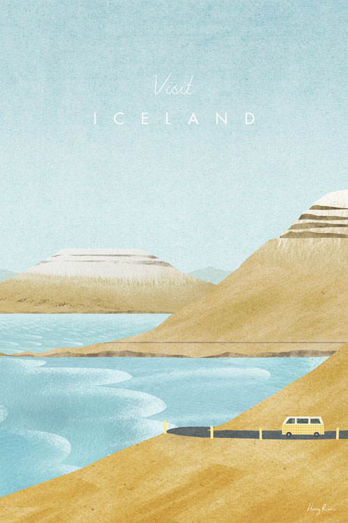 Iceland Travel Poster - Minimalist Vintage Travel Poster Art by artist Henry Rivers. - Vintage style illustration of the Icelandic mountains with a yellow camper van driving along the coast roast. Waves crash in from the ocean and there are snow capped mountains in the distance.