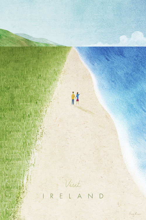 Ireland Travel Poster - Minimalist Vintage Travel Poster Art by artist Henry Rivers. - Vintage style illustration of a duney beach in Ireland. Wild dunes meet a wild sandy beach with Irish hills in the distance. There is a young couple walking along the beach, the waves are lapping in from the ocean.