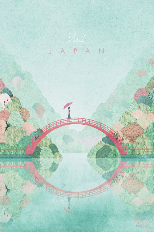 Japan in the Fall Travel Poster - Minimalist Vintage Travel Poster Art by artist Henry Rivers. - Vintage style illustration of a girl with a parasol crossing a bridge in a Japanese garden. The leaves are starting to turn red and there are forested hills in the distance. The girl is holding a parasol.