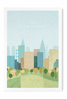 New York vintage travel poster by artist Henry Rivers of Travel Poster Co.