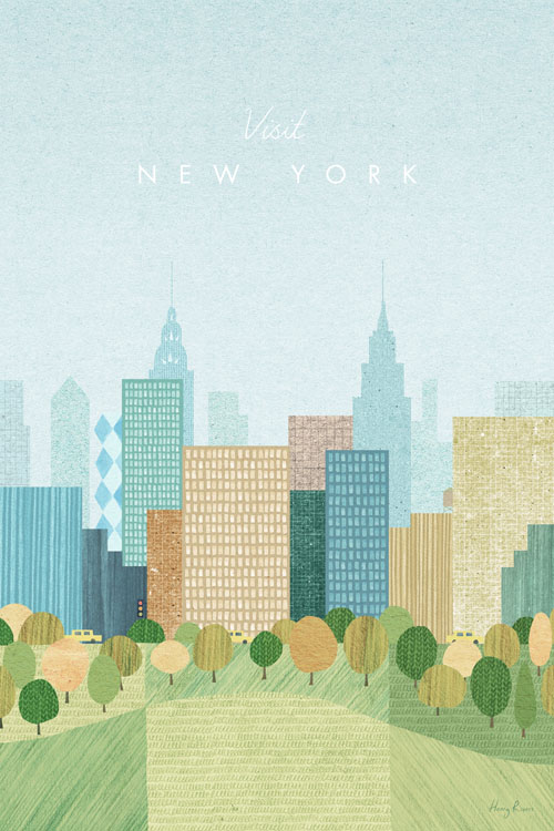 New York in the Fall Travel Poster - Minimalist Vintage Travel Poster Art by artist Henry Rivers. - Vintage style illustration of Central Park with New York's iconic skyline in the distance. The leaves on the trees in the park are starting to tree yellow with the fall setting in. On a road behind the park are iconic New York taxis.