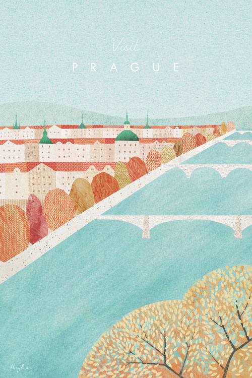 Prague, Czech Republic Travel Poster - Minimalist Vintage Travel Poster Art by artist Henry Rivers. - Vintage style illustration of Prague in the Autumn. The Leaves on the rooves are the same red tones of the city's tiled rooftops. The river flows through the textured image under Prague's many bridges.