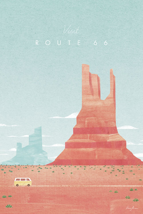 Roaute 66, Monument Valley National Park Travel Poster - Minimalist Vintage Travel Poster Art by artist Henry Rivers. - Vintage style illustration of a VW Camper van on the iconic Route 66. The van is driving through the desert landscape of Monument Valley National Park in Arizona. Tones of Red and Orange.