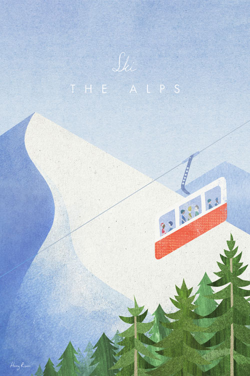 Ski The Alps Travel Poster - Minimalist Vintage Travel Poster Art by artist Henry Rivers. - Vintage style illustration of a red cable cart in the French Alps. A group of skier travel up the mountain view a beautiful view of snowy alps and pine trees underneath.