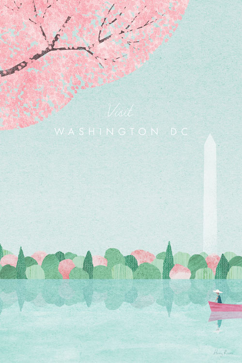 Washington DC Travel Poster - Minimalist Vintage Travel Poster Art by artist Henry Rivers. - Vintage style illustration of a lake in Washington DC. Cherry blossoms overhead and the in distance. Washington Monument is in the distance beyond the trees. A girl in a boat is admiring the tree.