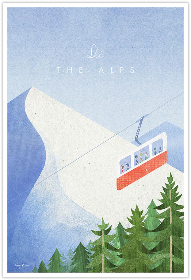 Ski The Alps Ski Travel Poster - Art Print by Henry Rivers / Travel Poster Co. - Cable Cart, Chamonix poster illustration by Henry Rivers. Abstract drawing of a red cable cart ski lift in the French Alpine ski resort of Chamoix. Pine trees in the foreground with snow mountain peaks in the background.