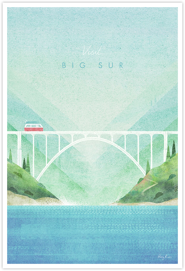 Big Sur, California Travel Poster - Art Print by Henry Rivers / Travel Poster Co. - Big Sur National Park Art poster illustration by Henry Rivers. Bixby Creek bridge with a red vw camper. US California road trip artwork.