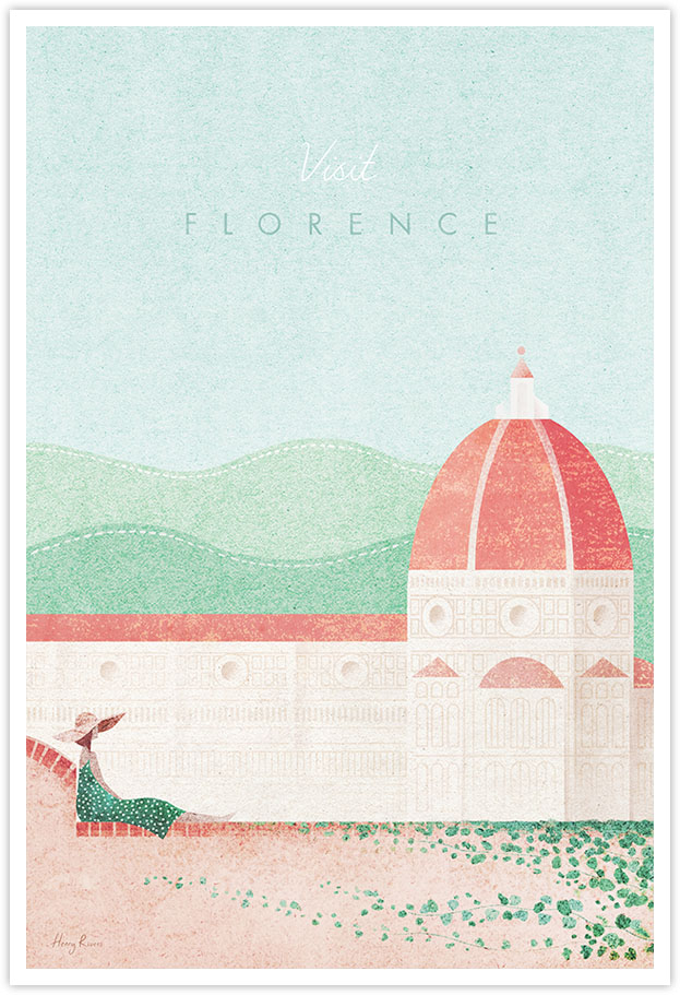Florence, Tuscany, Italy Travel Poster - Art Print by Henry Rivers / Travel Poster Co. - Florence city poster illustration by Henry Rivers. Girl sitting on a wall with the Duomo and tuscan hills in the distance. Tuscany scene with ivy on a red rick wall.