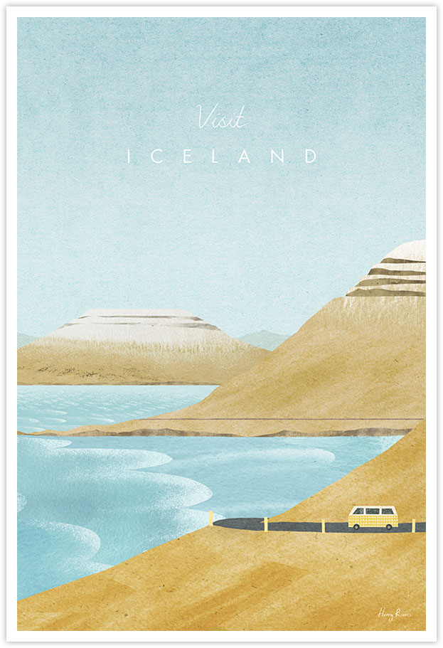 Iceland Travel Poster - Art Print by Henry Rivers / Travel Poster Co. - Vintage style Iceland poster illustration by Henry Rivers. VW camper driving around the coastal roads of Iceland. Waves coming into the ocean, icy blue sea, mountains in the distance. Yellow camper van on mountain roads.