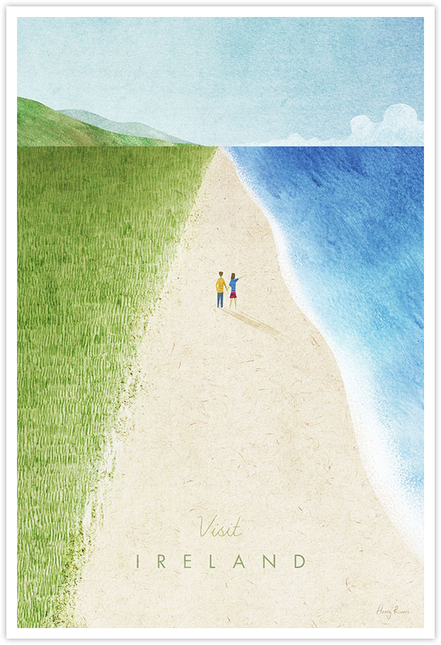 Ireland Travel Poster - Art Print by Henry Rivers / Travel Poster Co. - Ireland vintage style poster illustration by Henry Rivers. Irish beach scene with blue ocean and green hills. Couple walking on Irish beach. Minimal style with vintage feel. Sand dunes, text reads 'Visit Ireland'.