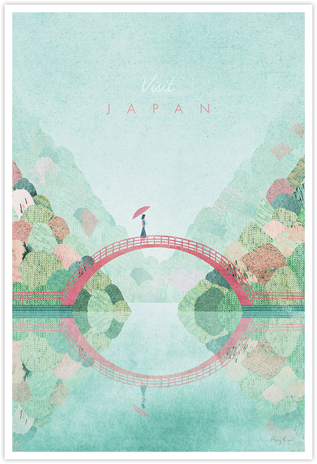 Japan Autumn Travel Poster - Art Print by Henry Rivers / Travel Poster Co. - Japan poster illustration by Henry Rivers. Reflection on Autumn hills with Japanese trees in vintage textures. Girl crossing bridge holding a red parasol. Japanese red bridge in a Toyko garden minimal art print. Trees in autumnal colours.