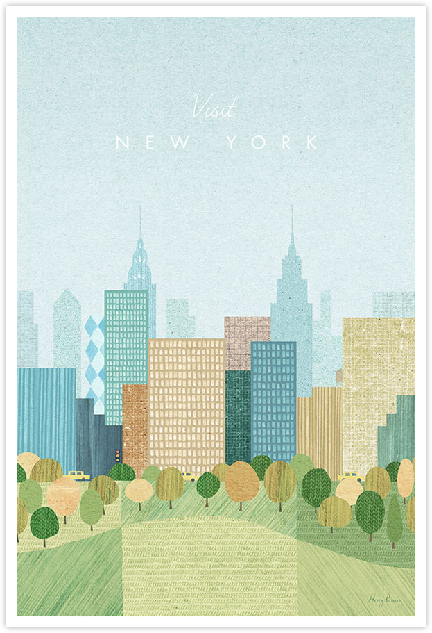 New York in the Fall Travel Poster - Art Print by Henry Rivers / Travel Poster Co. - New York Central poster illustration by Henry Rivers. View of Central Park in the Fall with Skyline of New York City in the background. Vintage style minimal art print.