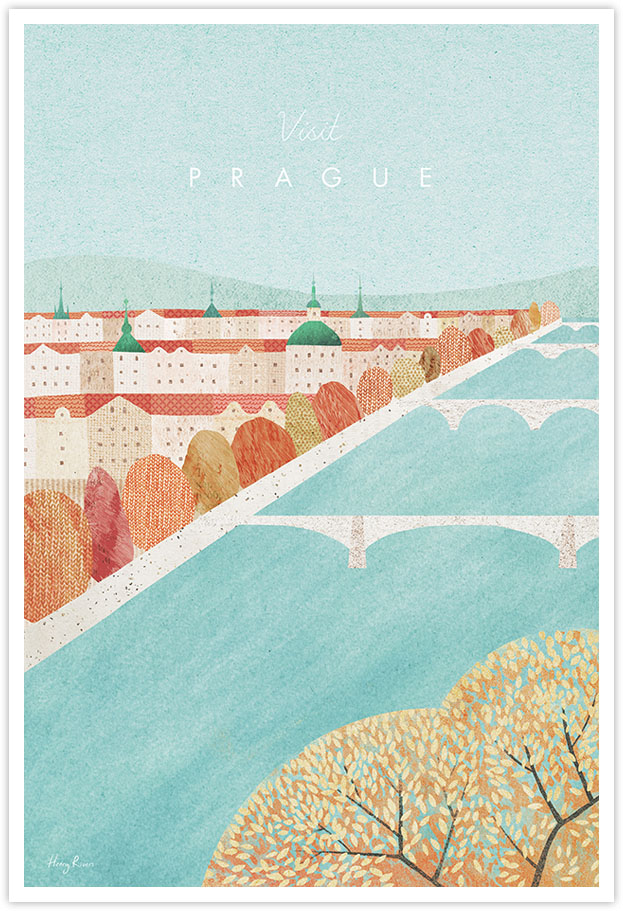 Prague, Czech Republic Travel Poster - Art Print by Henry Rivers / Travel Poster Co. - Prague in the autumn poster illustration by Henry Rivers. View of the river in Prague with autum leaves in the foreground. Red rooftops, hills and spires of Prague skyline in the background.