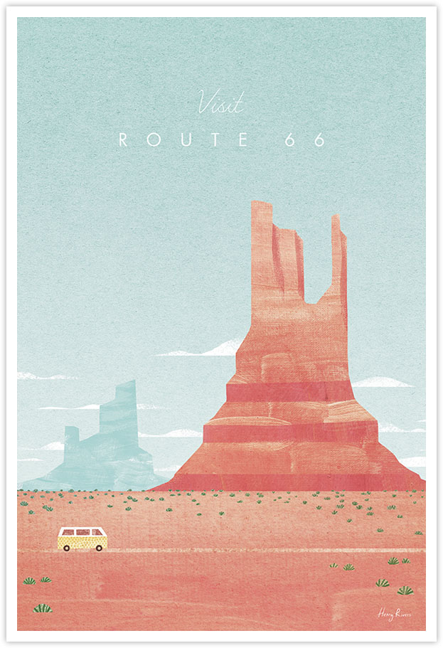 Route 66 road trip Travel Poster - Art Print by Henry Rivers / Travel Poster Co. - Route 66 monument valley poster illustration by Henry Rivers. Vintage style poster of Route 66 - Monument valley national park in Arizona. A yellow VW camper van in driving through rocky red desert with blue sky in the background.