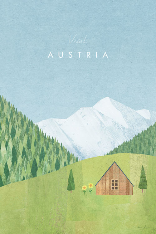 Austria Travel Poster - Minimalist Vintage Travel Poster Art by artist Henry Rivers. Collage modern illustration of a Tyrolean meadow.