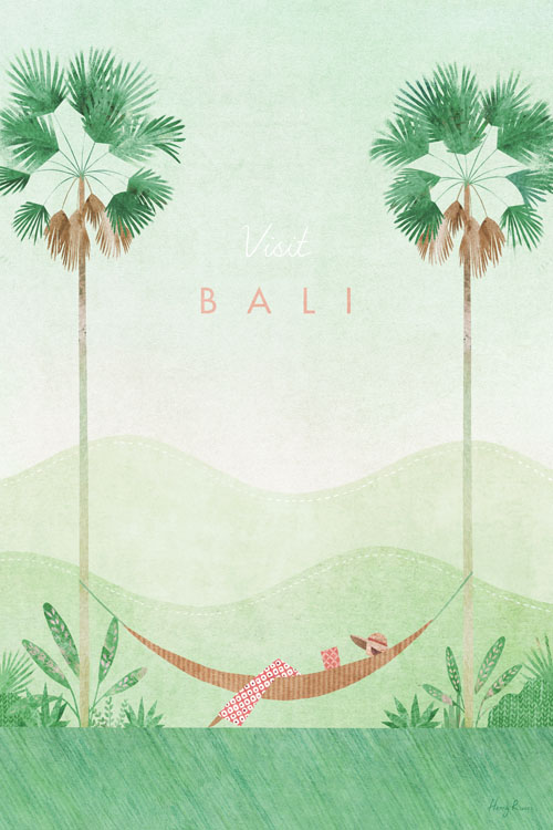 Bali Travel Poster - Minimalist Vintage Travel Poster Art by artist Henry Rivers. Graphic botanical illustration of a hammock and palm trees.