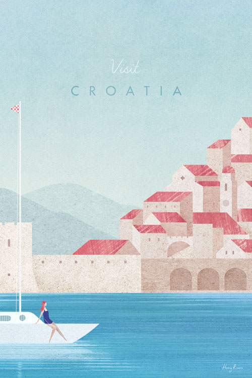 Croatia Travel Poster - Minimalist Vintage Travel Poster Art by artist Henry Rivers. Vintage style illustration Dubrovnik architecture and sea.