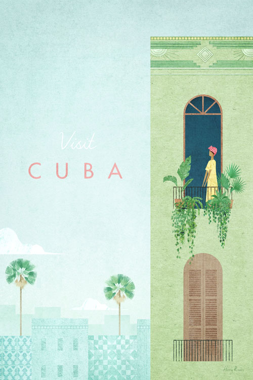 Cuba Travel Poster - Minimalist Vintage Travel Poster Art by artist Henry Rivers. Botanical illustration of house plants in Havana and palm trees.
