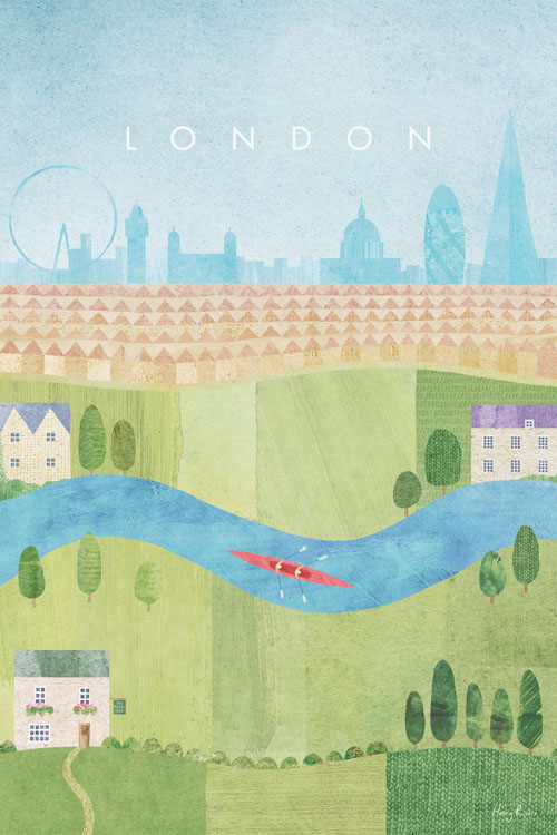 London Summer Travel Poster - Minimalist Vintage Travel Poster Art by artist Henry Rivers. Collage illustration of Richmond park, London city skyline and rowers in the meandering river thames.