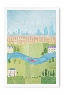 London, Summer Vintage Travel Poster Art by Henry Rivers