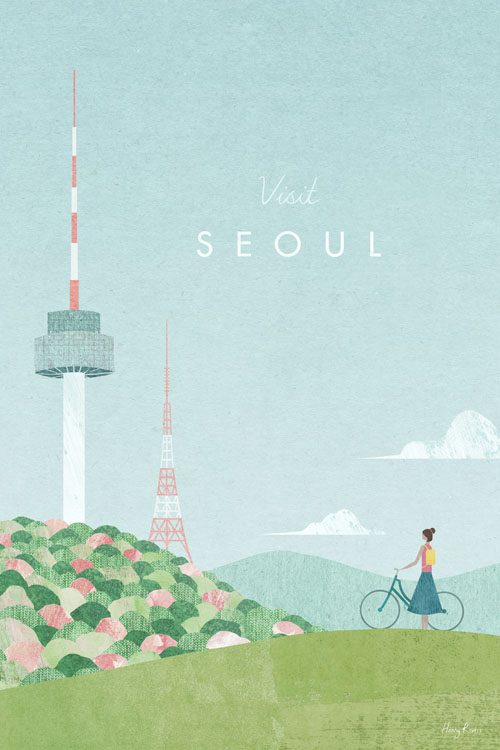 Seoul Travel Poster - Minimalist Vintage Travel Poster Art by artist Henry Rivers. Bright, colourful illustraion of Seoul, South Korea with spring blossom, hills and clouds.