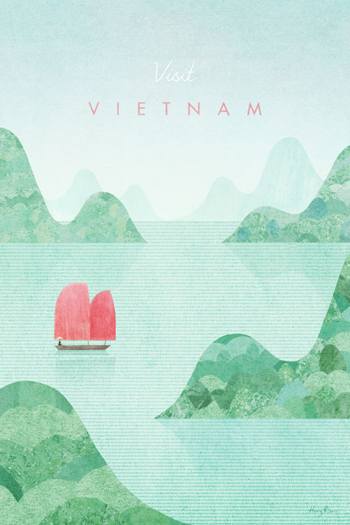Vietnam, Halong Bay Travel Poster - Minimalist Vintage Travel Poster Art by artist Henry Rivers. Naive style illustration with watercolour and vintage paper textures.