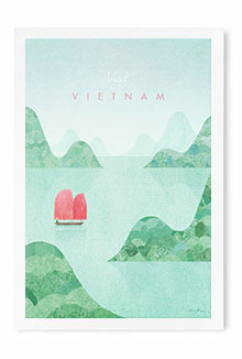 Vietnam vintage travel poster by artist Henry Rivers of Travel Poster Co.