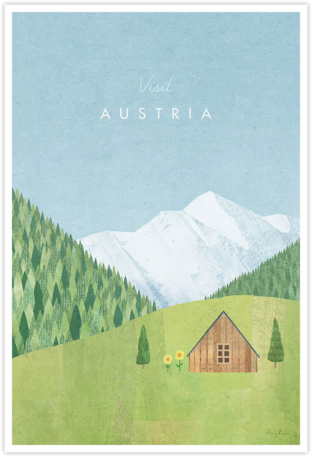 Austria Travel Poster - Art Print by Henry Rivers / Travel Poster Co. - Visit Austria poster art by Henry Rivers. Alpine illustration of a Tyrolean cabin in a mountain forest.