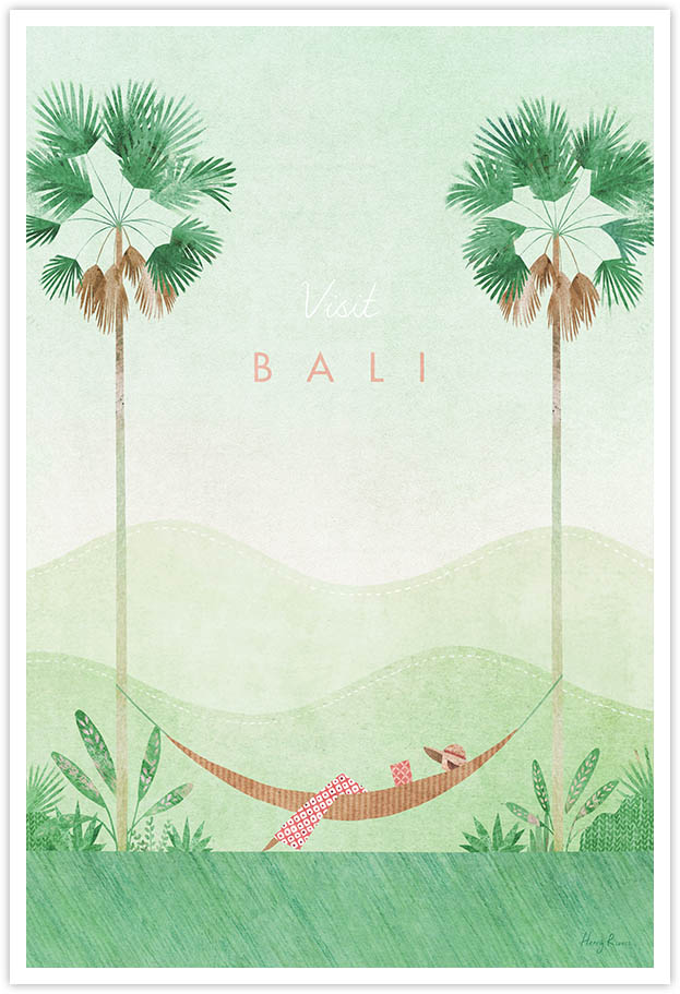 Bali Travel Poster - Art Print by Henry Rivers / Travel Poster Co. - Visit Bali poster art by Henry Rivers. Girl reading in a hammock underneath palm trees.