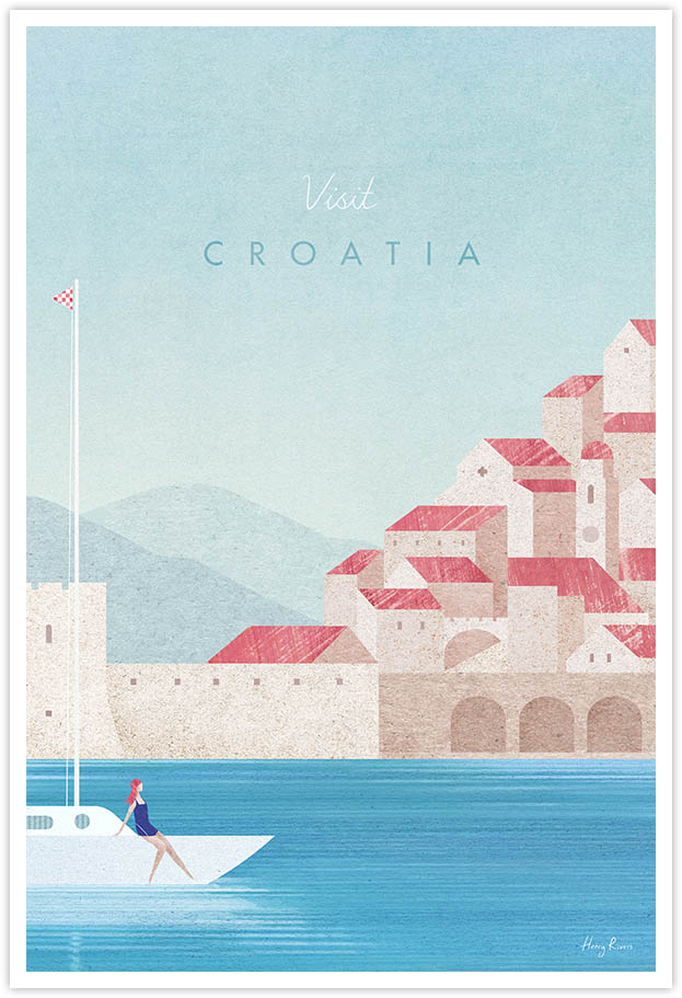 Croatia Travel Poster - Art Print by Henry Rivers / Travel Poster Co. - Visit Croatia poster art by Henry Rivers. Girl sailing on a yacht boat in Dubrovnik harbour.