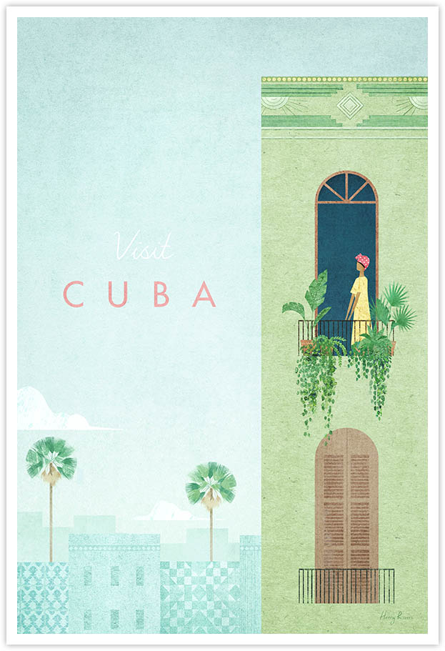 Cuba Travel Poster - Art Print by Henry Rivers / Travel Poster Co. - Visit Cuba poster art by Henry Rivers. Girl in an appartment with lots of house plants in Havana.