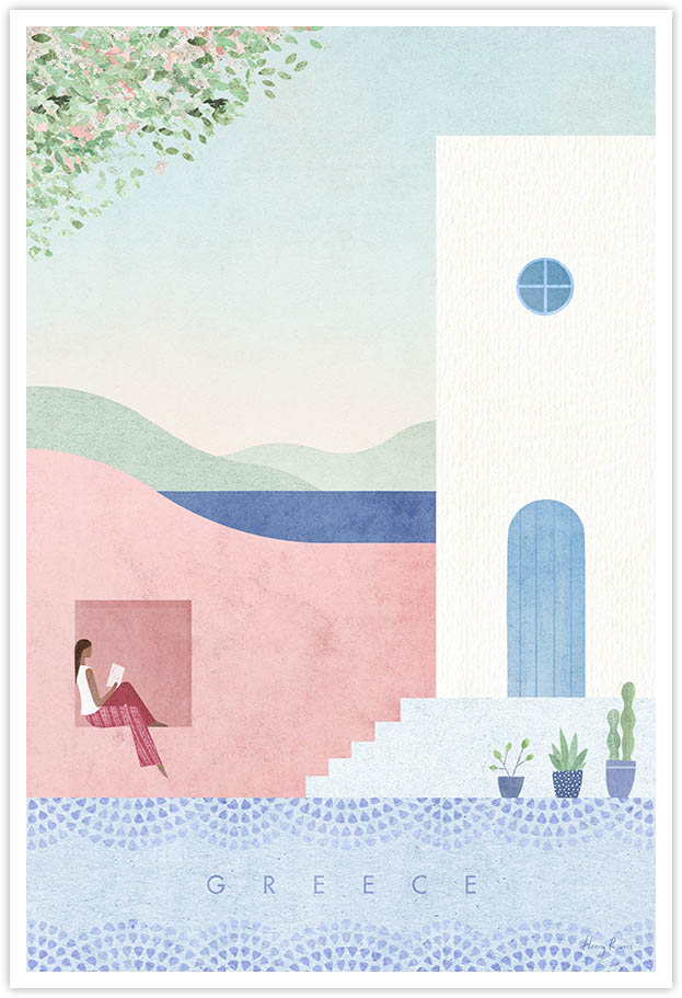 Greece Travel Poster - Art Print by Henry Rivers / Travel Poster Co. - Visit Greece / Santorini poster art by Henry Rivers. Illustration of a girl reading in a pink villa in Santorini. Bourgainvillia and cactuses in pots in the foreground.