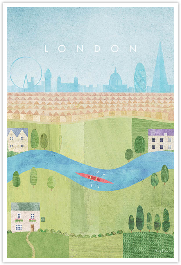 London Travel Poster - Art Print by Henry Rivers / Travel Poster Co. - Visit London poster art by Henry Rivers. Modern illustrative print of London parks, skyline and the river thames.