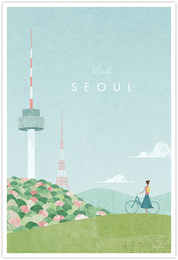 Seoul Travel Poster - Art Print by Henry Rivers / Travel Poster Co. - Visit Seoul poster art by Henry Rivers. Seoul tower on a hill and Korean girl with a bicycle in a vintage style.