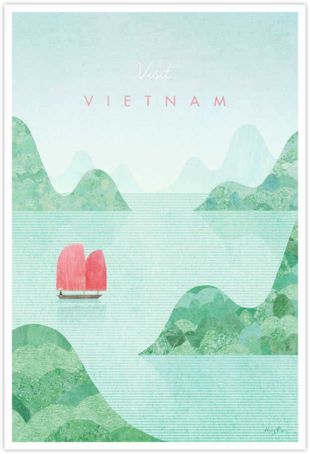 Vietnam Travel Poster - Art Print by Henry Rivers / Travel Poster Co. - Visit Vietnam poster art by Henry Rivers. Minimalist illustration of a boat of Halong Bay with green mountains and a vintage collage textures.