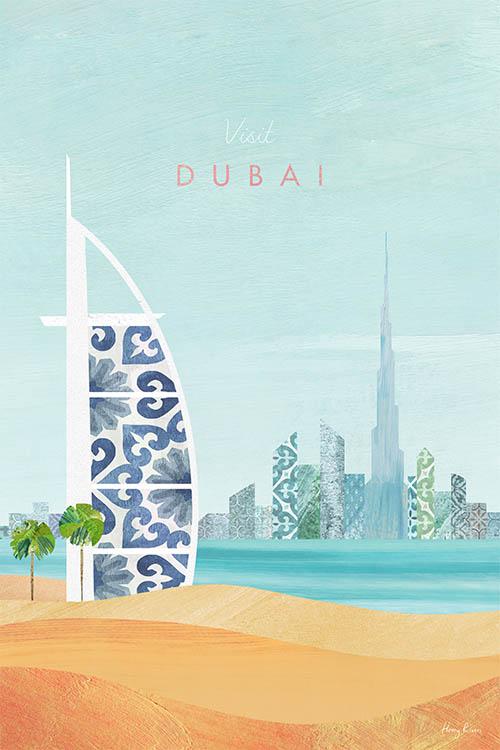 Dubai, UAE Travel Poster - Modern Vintage Travel Poster Art Print by artist Henry Rivers. Print of desert sand dunes and the Burj Al Arab in Dubai.