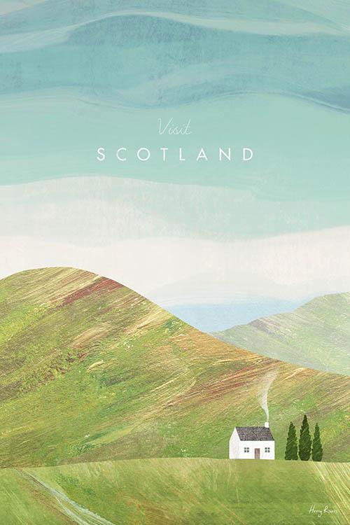 Scotland, Scottish Highlands Travel Poster - Vintage Travel Poster Art Print by artist Henry Rivers. Collage artwork of a cabin in the Scottish Highlands.